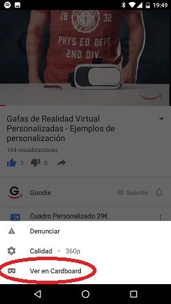 gafas de realidad virtual youtube cardboard